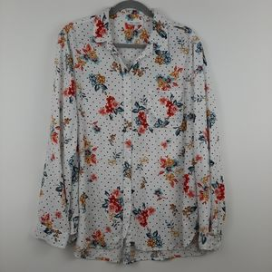 BEACHLUNCHLOUNGE Floral Polka Dot Button Front XL